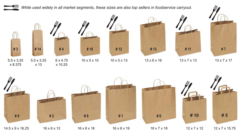 kraft paper bag size guide