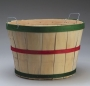Christmas bushel basket with handles. Natural wood with red and green bands.